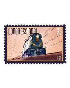 Congressional Train Stamp Vintage Sign, US Postal Service, Metal Sign, Wall Art, 18 X 12 Inches