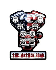 Mother Road Vintage Sign, Transportation, Metal Sign, Wall Art, 19 X 14 Inches