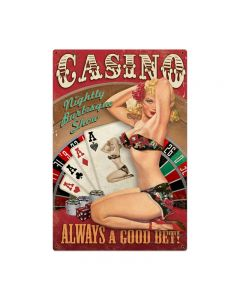 Casino Pinup Vintage Sign, Bar and Alcohol , Metal Sign, Wall Art, 24 X 36 Inches
