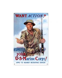 Want Action? Vintage Sign, Military, Metal Sign, Wall Art, 24 X 36 Inches