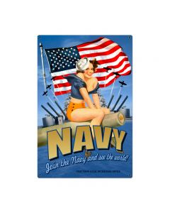 Navy Pinup Vintage Sign, Military, Metal Sign, Wall Art, 24 X 36 Inches