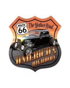 Route 66 Hot Rod Vintage Sign, Street Signs, Metal Sign, Wall Art, 28 X 28 Inches