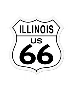 Illinois Route 66 Vintage Sign, Street Signs, Metal Sign, Wall Art, 28 X 28 Inches