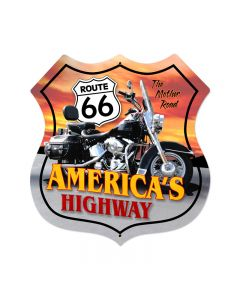 Route 66 Motorcycle Vintage Sign, Street Signs, Metal Sign, Wall Art, 28 X 28 Inches