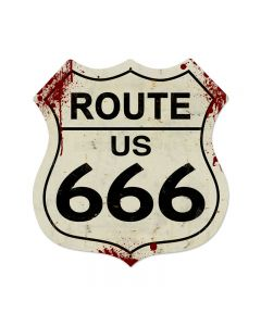 Route 666 Vintage Sign, Street Signs, Metal Sign, Wall Art, 28 X 28 Inches