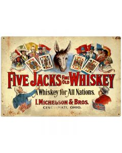 Five Jacks Whiskey Vintage Sign, Bar and Alcohol , Metal Sign, Wall Art, 36 X 24 Inches