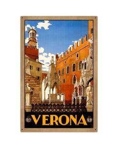 Verona Travel Vintage Sign, Transportation, Metal Sign, Wall Art, 24 X 36 Inches