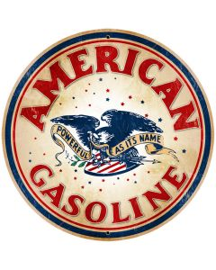 American Gasoline Vintage Sign, Oil & Petro, Metal Sign, Wall Art, 28 X 28 Inches
