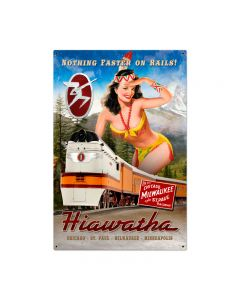 Hiawatha Indian Vintage Sign, Trains, Metal Sign, Wall Art, 24 X 36 Inches