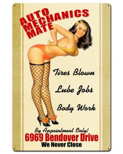 Auto Mechanics Mate Vintage Sign, Pinup Girls, Metal Sign, Wall Art, 24 X 36 Inches