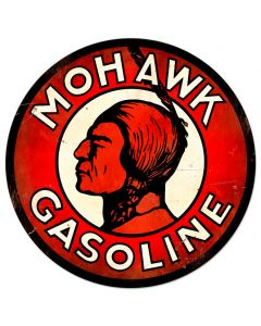Mohawk Gasoline XL Vintage Sign, Oil & Petro, Metal Sign, Wall Art, 42 X 42 Inches
