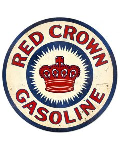 Red Crown Gas XL Vintage Sign, Oil & Petro, Metal Sign, Wall Art, 42 X 42 Inches