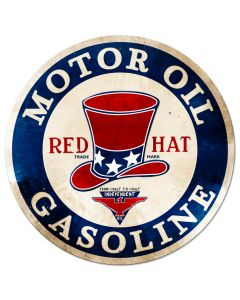 RED Hat Gasoline Vintage Sign, Oil & Petro, Metal Sign, Wall Art, 42 X 42 Inches