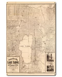 Lake Tahoe Map Vintage Sign, Travel, Metal Sign, Wall Art, 24 X 36 Inches