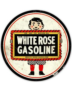 White Rose Gasoline Vintage Sign, Oil & Petro, Metal Sign, Wall Art, 42 X 42 Inches