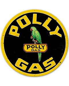 Polly Gas XL Vintage Sign, Oil & Petro, Metal Sign, Wall Art, 42 X 42 Inches