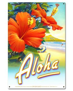 Aloha Hibiscus Vintage Sign, Oil & Petro, Metal Sign, Wall Art, 16 X 24 Inches