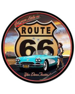 Route 66 Vintage Sign, Street Signs, Metal Sign, Wall Art, 14 X 14 Inches