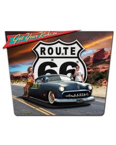 3-D KICKS ON 66 Vintage Sign, 3-D, Metal Sign, Wall Art, 15 X 20 Inches