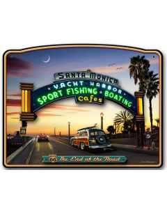 3-D SANTA MONICA PIER Vintage Sign, Travel, Metal Sign, Wall Art, 20 X 16 Inches