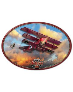 3-D Fokker Tri-Plane Vintage Sign, 3-D, Metal Sign, Wall Art, 20 X 13 Inches