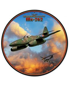 Me-262 Jet, Military, Metal Sign, Wall Art, 14 X 14 Inches