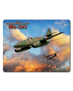 Me-262 Jet, Military, Metal Sign, Wall Art, 12 X 15 Inches