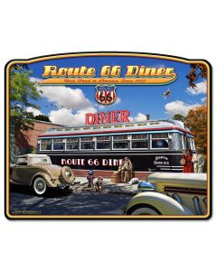1936 Route 66 Diner, Street Signs, Metal Sign, Wall Art, 15 X 18 Inches