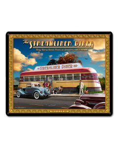1936 Streamliner Diner, Automotive, Metal Sign, Wall Art, 15 X 12 Inches
