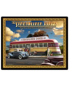 1936 Streamliner Diner, Automotive, Metal Sign, Wall Art, 30 X 24 Inches