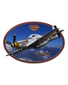 3-D P-51 Mustang Vintage Sign, 3-D, Metal Sign, Wall Art, 19 X 12 Inches