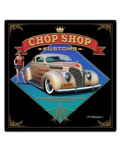 1938 Ford Kustom Vintage Sign, Automotive, Metal Sign, Wall Art, 24 X 24 Inches