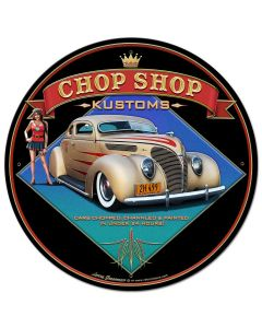 1938 Ford Kustom Vintage Sign, Automotive, Metal Sign, Wall Art, 28 X 28 Inches