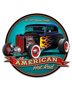 1932 Lil Deuce Coupe Vintage Sign, Automotive, Metal Sign, Wall Art, 18 X 17 Inches