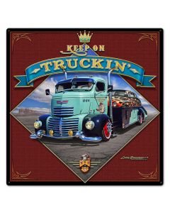 1947 Keep On Truckin', Automotive, Metal Sign, Wall Art, 24 X 24 Inches