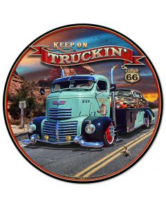 1947 Truckin' Rt 66, Automotive, Metal Sign, Wall Art, 14 X 14 Inches