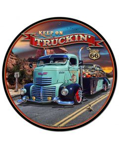 1947 Truckin' Rt 66, Automotive, Metal Sign, Wall Art, 28 X 28 Inches