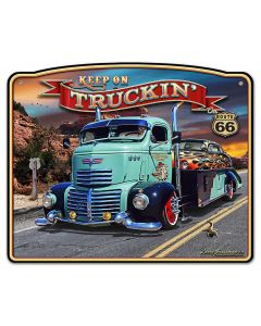 1947 Truckin' Rt 66 Frame, Automotive, Metal Sign, Wall Art, 18 X 15 Inches