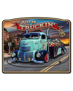 1947 Truckin' Rt 66 3-D, Automotive, Metal Sign, Wall Art, 18 X 15 Inches