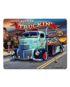 1947 Truckin' Rt 66, Automotive, Metal Sign, Wall Art, 15 X 12 Inches