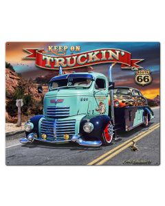 1947 Truckin' Rt 66, Oil & Petro, Metal Sign, Wall Art, 30 X 24 Inches