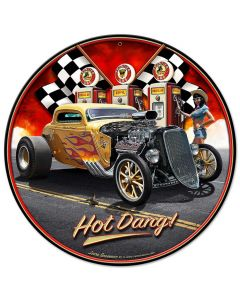 1933 Hot Dang, Automotive, Metal Sign, Wall Art, 14 X 14 Inches