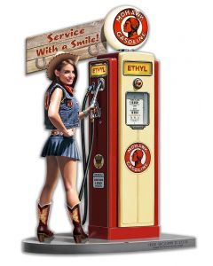 Gas Pump Girl Mild, New Products, Metal Sign, Wall Art, 14 X 20 Inches