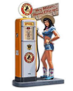 Gas Pump Girl 2, New Products, Metal Sign, Wall Art, 11 X 18 Inches