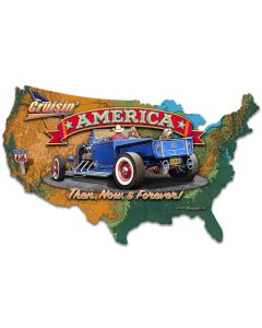 CRUISIN' AMERICA MAP, New Products, Metal Sign, Wall Art, 27 X 16 Inches