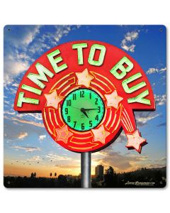 TIME TO BUY, New Products, Metal Sign, Wall Art, 12 X 12 Inches