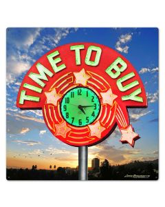 TIME TO BUY, New Products, Metal Sign, Wall Art, 24 X 24 Inches