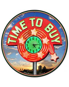 TIME TO BUY, New Products, Metal Sign, Wall Art, 14 X 14 Inches