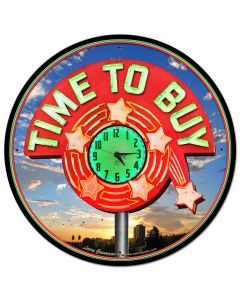 TIME TO BUY, New Products, Metal Sign, Wall Art, 28 X 28 Inches