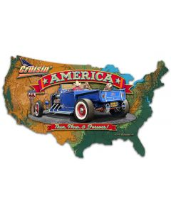 3-D CRUISIN' AMERICA MAP, Automotive, Metal Sign, Wall Art, 25 X 16 Inches